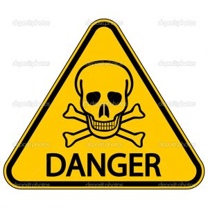Skull and bones danger triangular sign. Vector illustration.